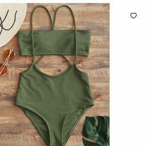 Zaful Olive Green swim set